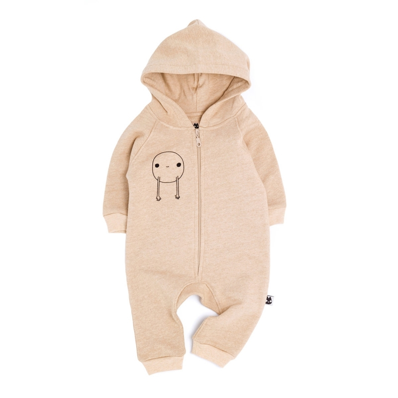 TAN COLOUR FLEECE JAMPSUIT BABY